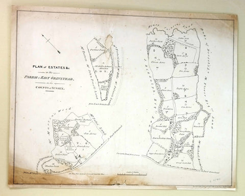 "Antique Map - ""ESTATES in the PARRISH of EAST GRINSTEAD""  - Engraving - c1840"