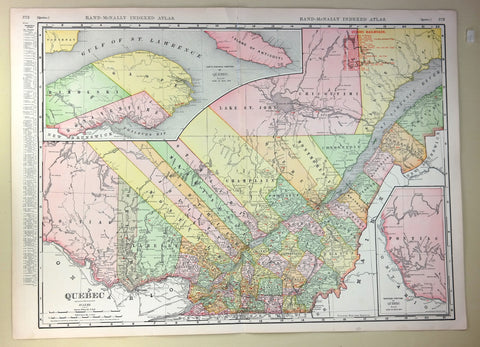 "Rand-McNally's Atlas Map - ""QUEBEC"" - Chromolithogrpah - 1911"