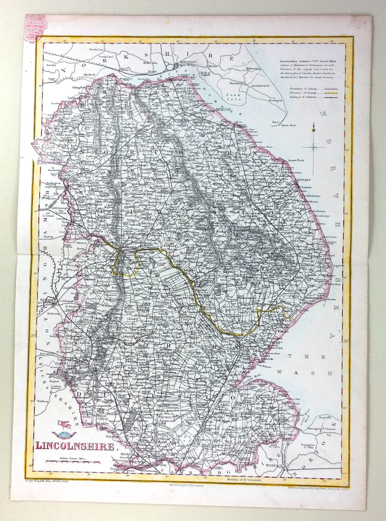 "Weekly Dispatch Map - ""LINCOLNSHIRE""  - Hand Coloured - c1863"