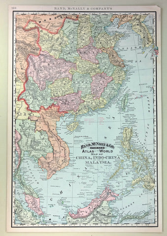 "Rand-McNally's Atlas Map - ""CHINA, INDO-CHINA & MALAYSIA"" - Chromolithogrpah - 1903"