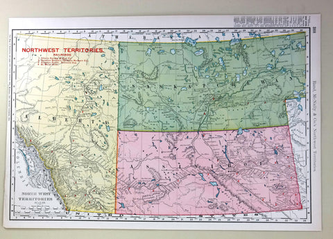 "Rand-McNally's Atlas Map - ""NORTHWEST TERRITORIES RAILROADS"" - Chromolithogrpah - 1903"