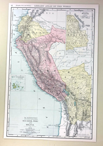 "Rand-McNally's Atlas Map - ""EQUADOR, PERU & BOLIVIA"" - Chromo - 1912"