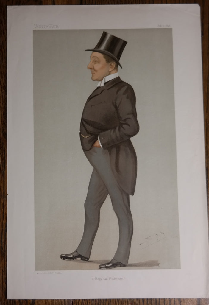 "Vanity Fair ""SPY"" - ""A HEGELIAN POLITICIAN""  - Chromolithograph Print - 1896"