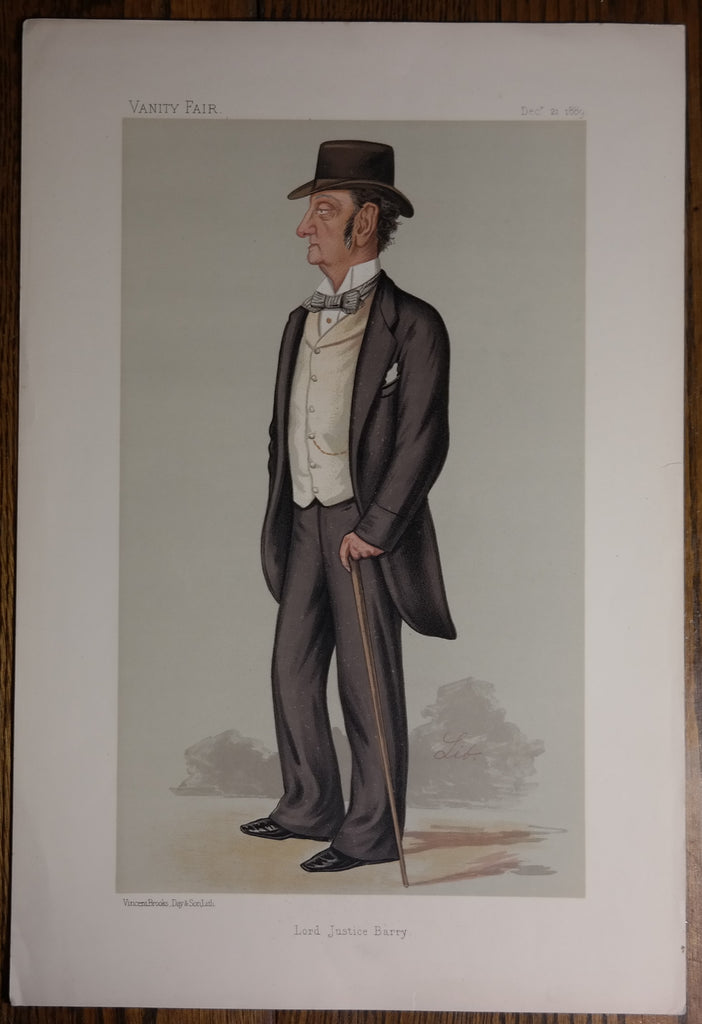 "Vanity Fair ""SPY"" - ""LORD JUSTICE BARRY""  - Chromolithograph Print - 1889"
