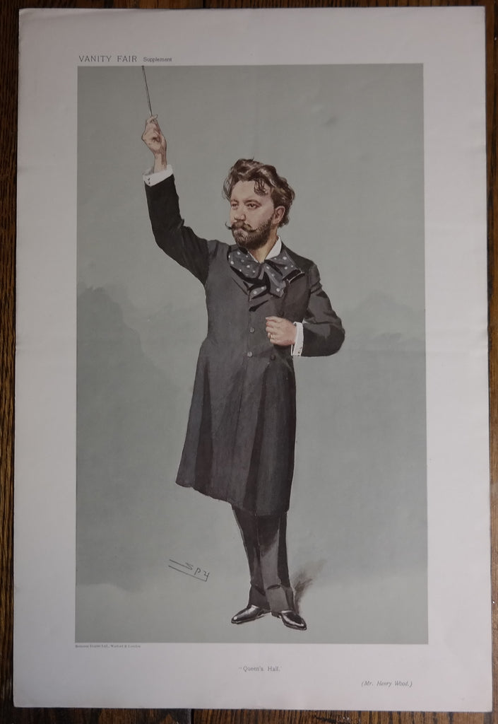 "Vanity Fair ""SPY"" - ""QUEEN'S HALL - MR. HENRY WOOD""  - Lithograph Print - c1900"