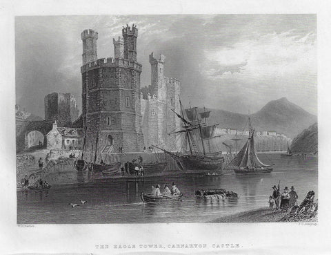 Bartlett Antique Print - EAGLE TOWER, CARNAVON CASTLE - Engraving - 1840