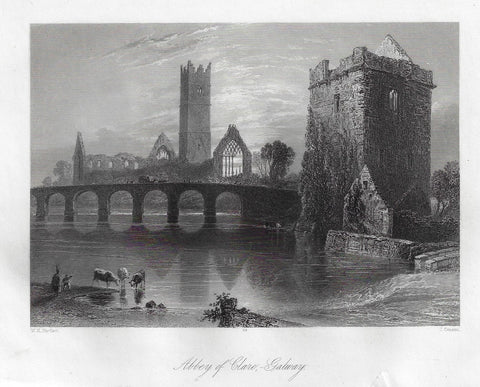 Bartlett Antique Print - ABBEY OF CLARE GALWAY - Steel Engraving - 1840