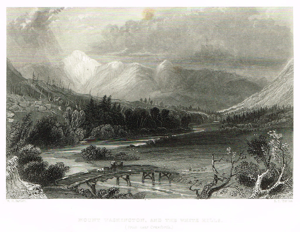 "Bartlett's ""MOUNT WASHINGTON, AND THE WHITE HILLS (From Near Crawford's)"" - Steel Engraving - c1840"