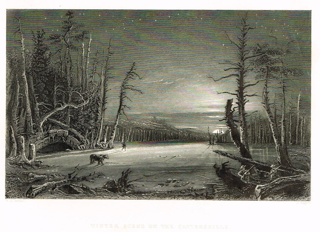 "Bartlett's ""WINTER SCENE ON THE CATTERSKILLS"" - Steel Engraving - c1840"