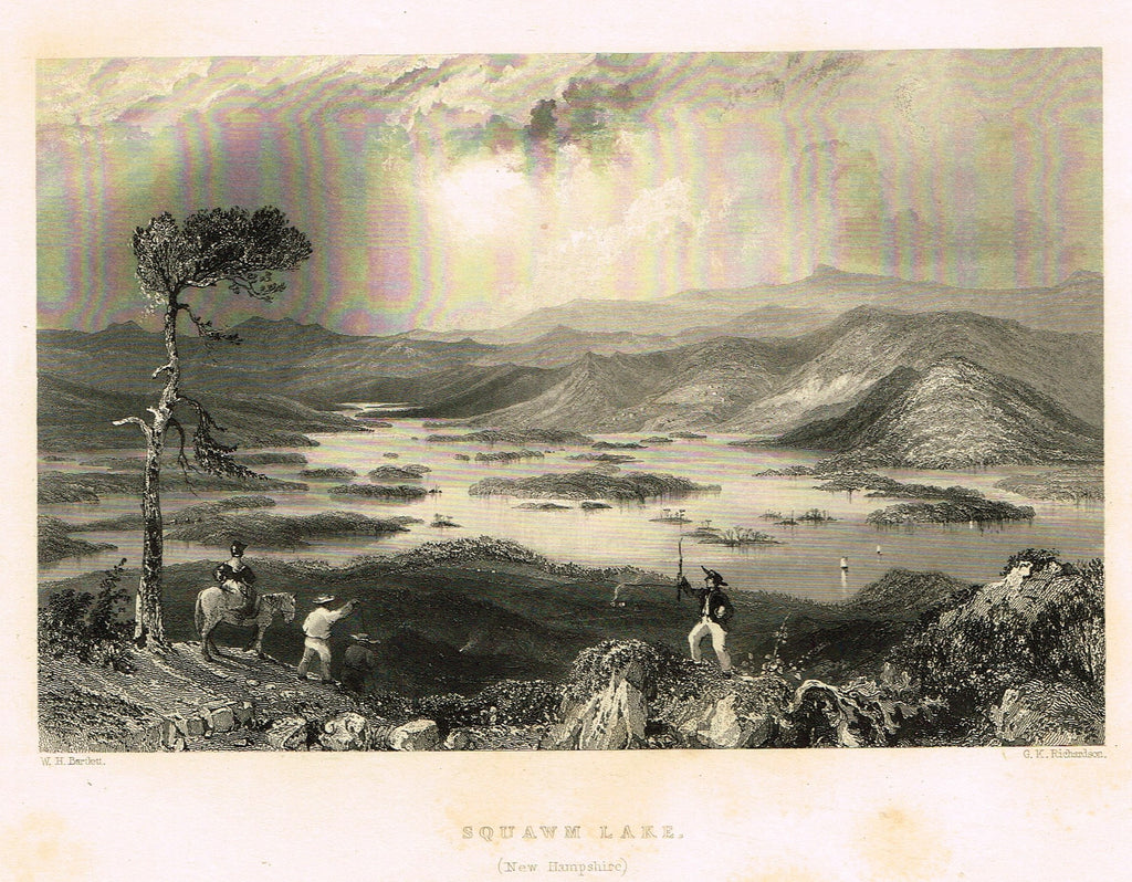 "Bartlett's ""SQUAWM LAKE, (NEW HAMPSHIRE)"" - Steel Engraving - c1840"