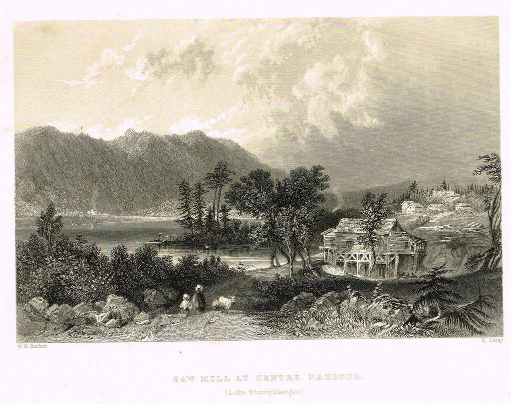"Bartlett's ""SAW HILL AT CENTRE HARBOUR, (LAKE WINNIPISSEOGEE)"" - Steel Engraving - c1840"
