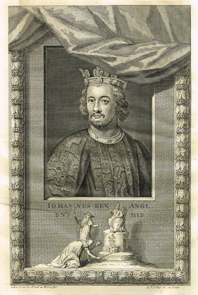 "Rapin's Kings of England - ""JOHANNES REX ANGI, DNS HIB"" - Copper Engraving - 1732"