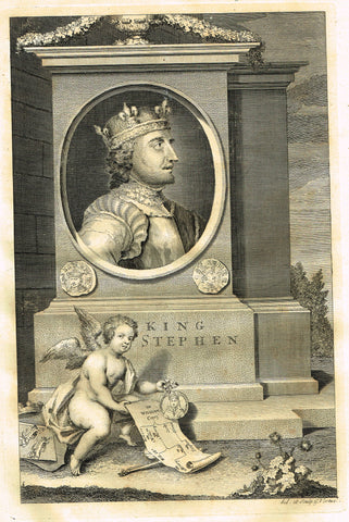 "Rapin's Kings of England - ""KING STEPHEN"" - Copper Engraving - 1732"
