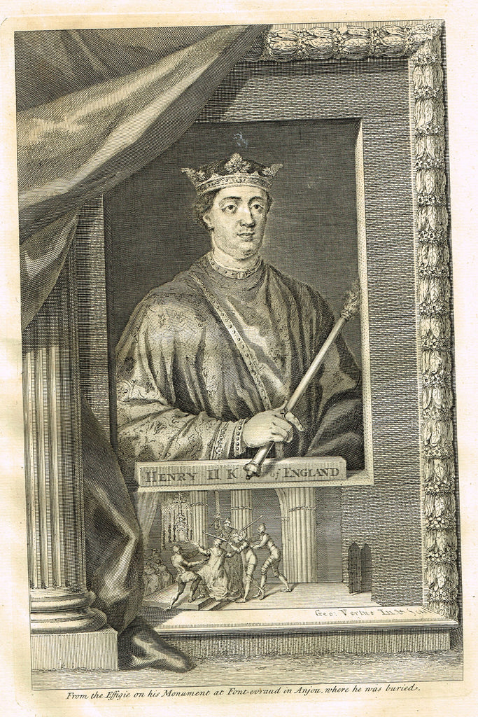 "Rapin's Kings of England - ""HENRY II , KING OF ENGLAND"" - Copper Engraving - 1732"