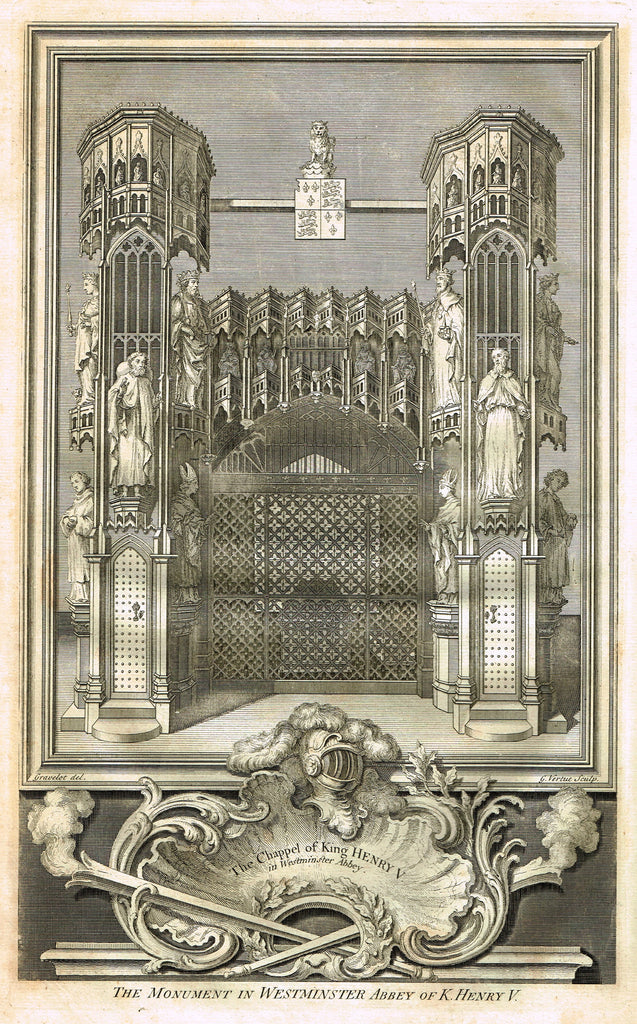 "Vertue's Monuments - ""THE CHAPPEL OF KING HENRY V (WESTMINSTER ABBEY)"" - Copper Engraving - 1732"