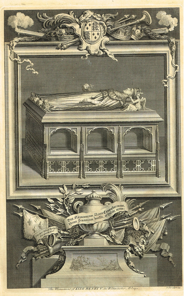 "Vertue's Monuments - ""THE MONUMENT OF KING HENRY V (WESTMINSTER ABBEY)"" - Engraving - 1732"