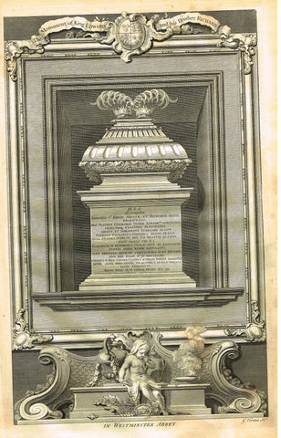 "Vertue's Monuments - ""THE MONUMENT OF KING EDWARD (WESTMINSTER ABBEY)"" - Copper Engraving - 1732"