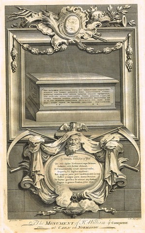 "Vertue's Monuments - ""KING WILLIAM THE CONQUEROR (CAEN IN NORMANDY)"" -  Copper Engraving - 1732"