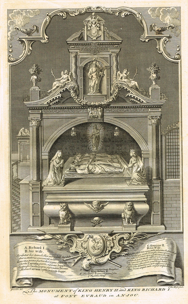 "Vertue's Monuments - ""KINGS HENRY II & RICHARD I (FONT EVRAUD IN ANJOU)"" - Copper Engraving - 1732"