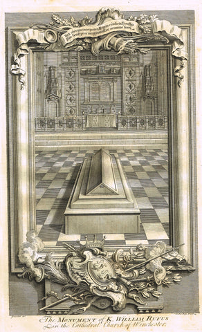 Vertue's Monuments - KING WILLIAM RUGUS (WINCHESTER CATHEDRAL) - Copper Engraving - 1732