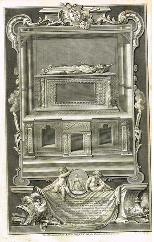 Vertue's Monuments - KING HENRY III (WESTMINSTER ABBEY) - Copper Engraving - 1732