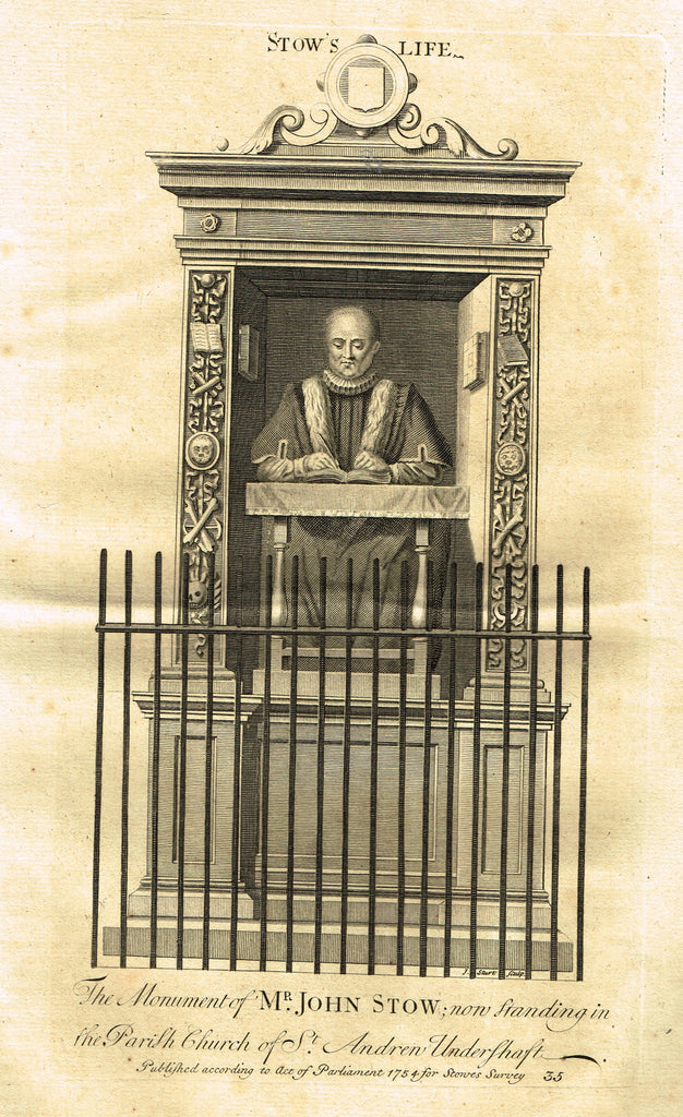 "Vertue's Monuments - ""MR. JOHN STOW (ST. ANDREN UNDERSHFT CHURCH)"" - Copper Engraving - 1732"
