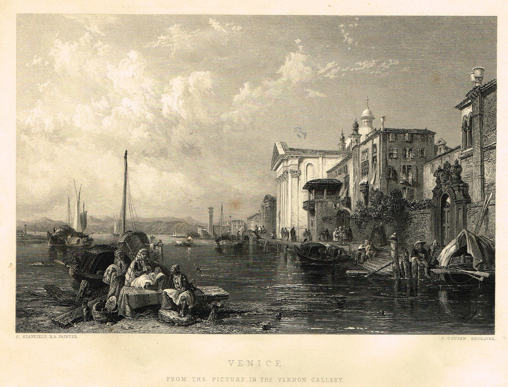 "Fine Art - ""VENICE"" by C. Stanfield (Engraved by J.Cousen) - Steel Engraving - c1840"