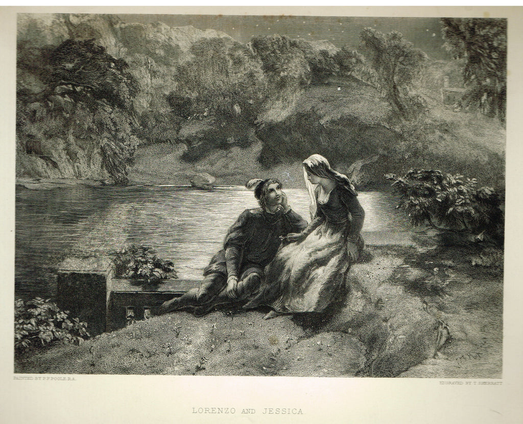 "Fine Art - ""LORENZO AND JESSICA"" by P.F. Poole (Engraved by T. Sherratt) - Steel Engraving - c1840"