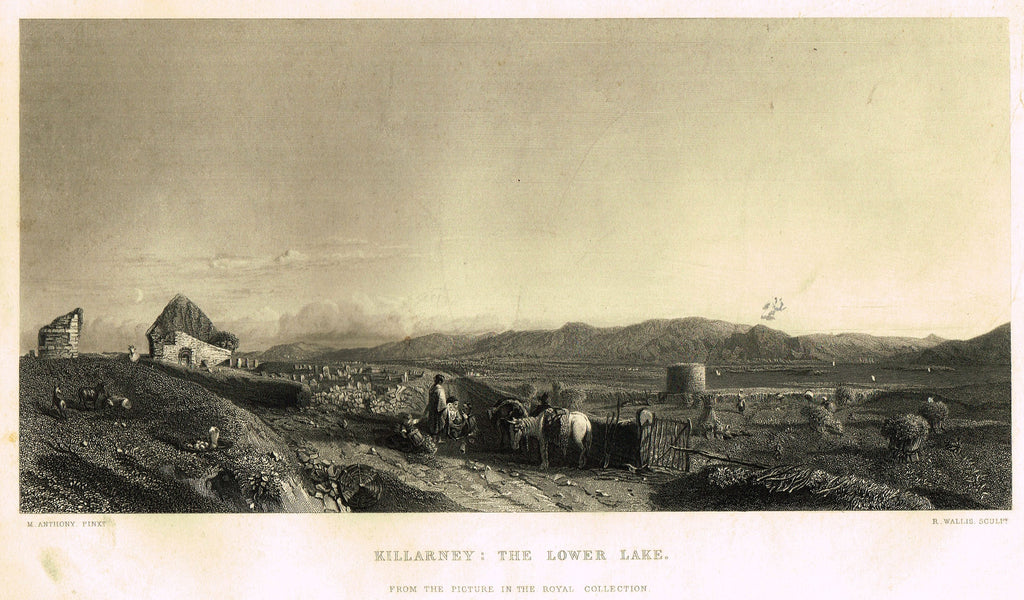 "Fine Art - ""KILLARNEY: THE LOWER LAKE"" by M. Anthony - Steel Engraving - c1840"