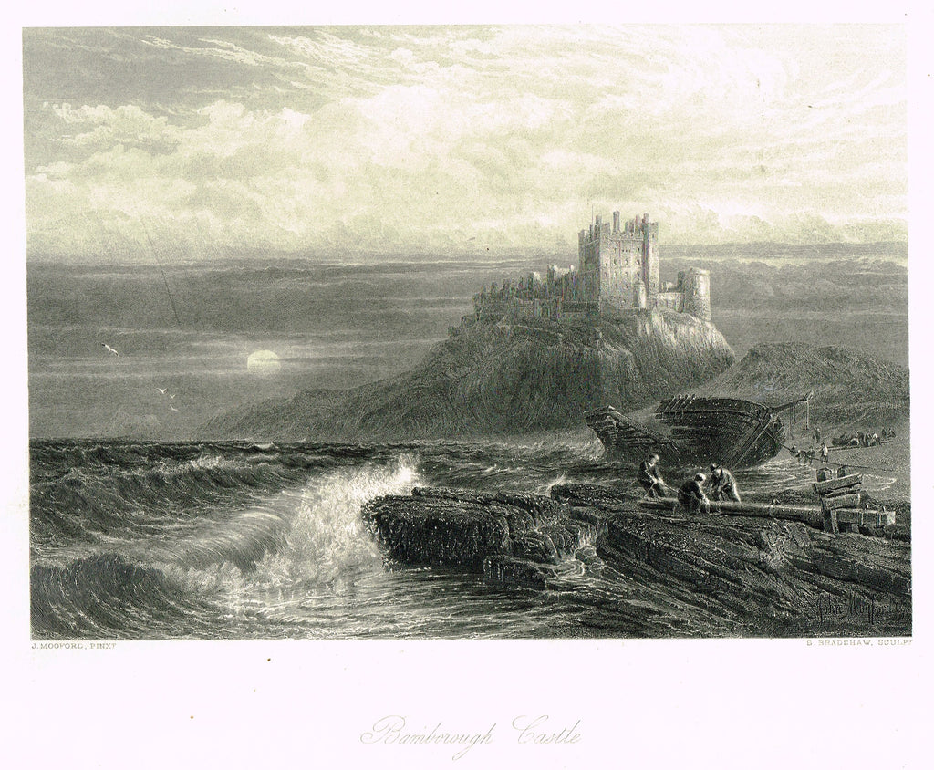 "Fine Art - ""BAMBOROUGH CASTLE"" by J. Mooford (Engraved by S. Bradshaw) - Steel Engraving - c1840"