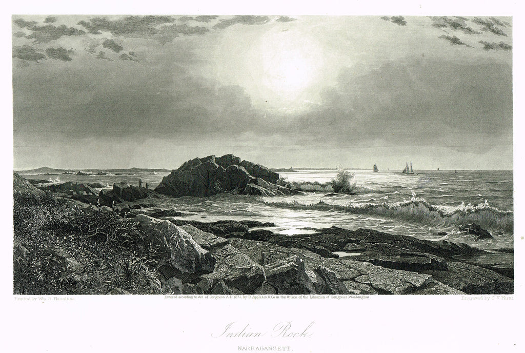 "Fine Art - ""INDIAN ROCK, NARRAGANSETT"" by W, S. Haseltine - Steel Engraving - c1840"