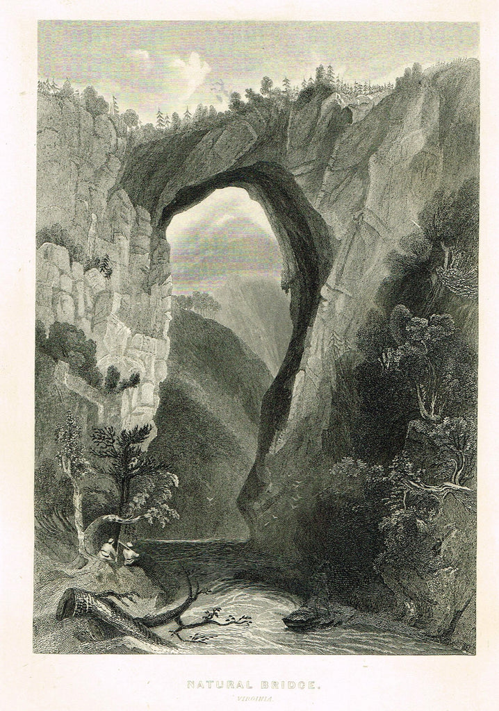 "Fine Art - ""NATURAL BRIDGE, VIRGINIA"" by The Picturesque World - Steel Engraving - c1840"