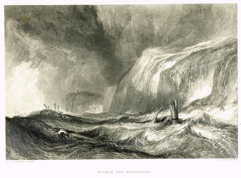 "Fine Art - ""WRECK OFF HASTINGS"" by J.M.W. Turner, engraved by W. Miller - Steel Engraving - c1840"