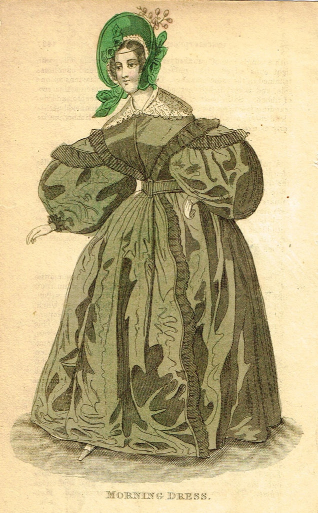 "Lady's Cabinet Fashion Plate - ""MORNING DRESS (Green)"" - Hand-Colored Engraving - 1840"