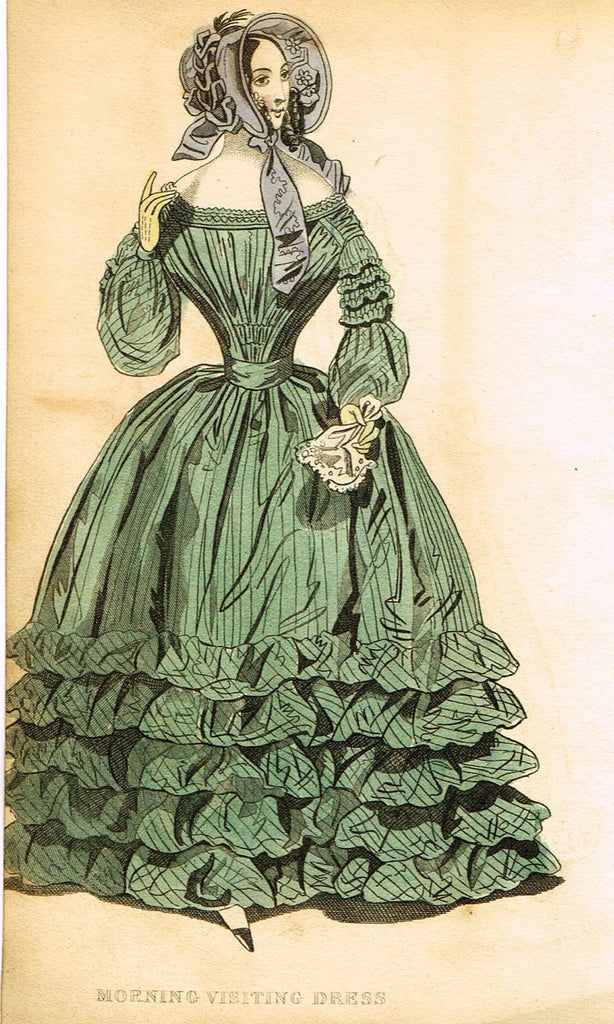 "Lady's Cabinet Fashion Plate - ""MORNING VISITING DRESS (Green)"" - Hand-Colored Engraving - 1840"