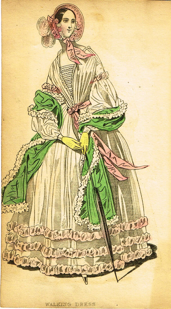 "Lady's Cabinet Fashion Plate - ""WALKING DRESS (WHITE)"" - Hand-Colored Engraving - 1840"