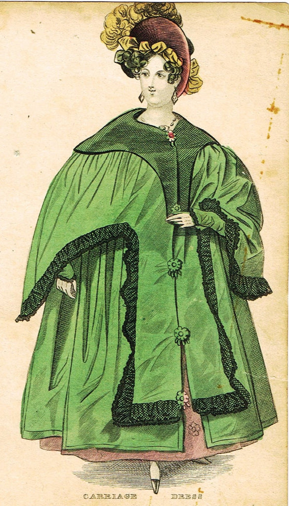 "Lady's Cabinet Fashion Plate - ""CARRIAGE DRESS (GREEN)"" - Hand-Colored Engraving - 1840"