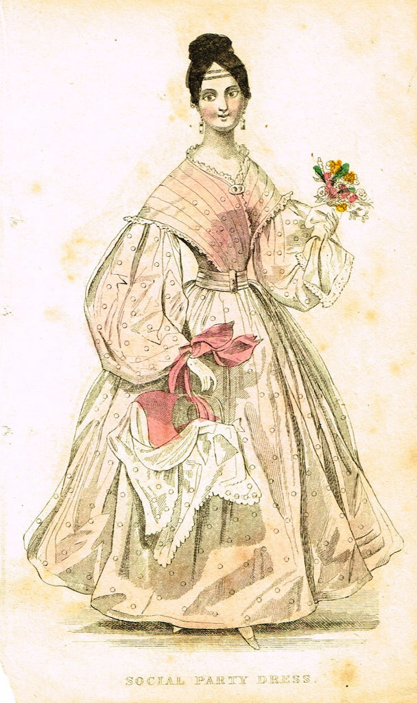 "Lady's Cabinet Fashion Plate - ""SOCIAL PARTY DRESS (WHITE)"" - Hand-Colored Engraving - 1840"
