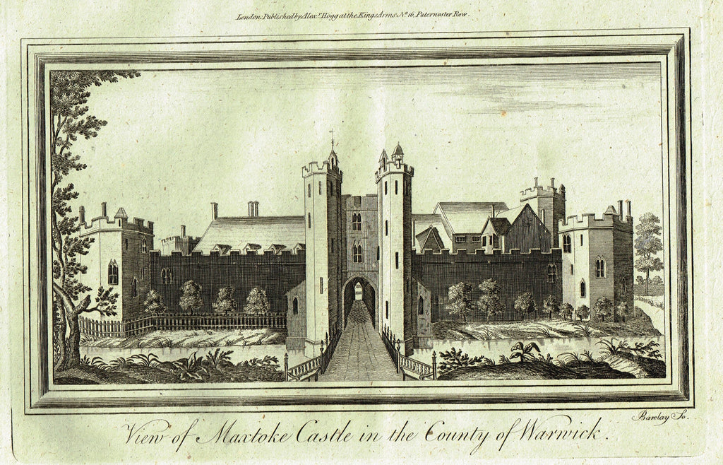 "Architecture - ""VIEW OF MAXTOKE CASTLE IN THE COUNTRY OF WARWICK"" - Copper Engraving - c1770"