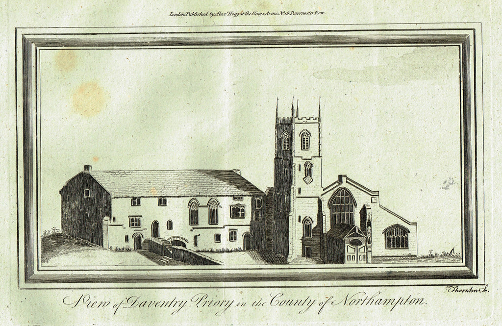 "Architecture - ""VIEW OF DAVENTRY PRIORY IN THE COUNTY OF NORTHAMPTON"" - Copper Engraving - c1770"