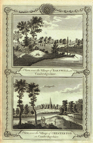 Architecture - VIEWS OF VILLAGES OF BARNWELL & CHESTERTON  - Copper Engraving - c1770