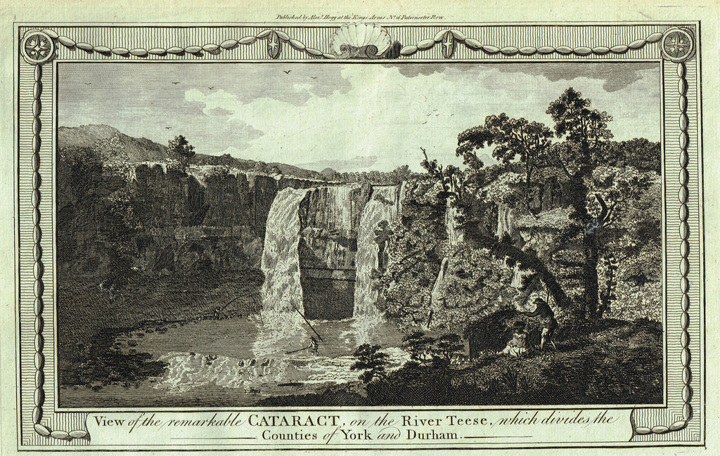 "Architecture - ""VIEW OF HE CATARACT ON THE RIVER TEESE (YORK & DURHAM)"" - Copper Engraving - c1770"