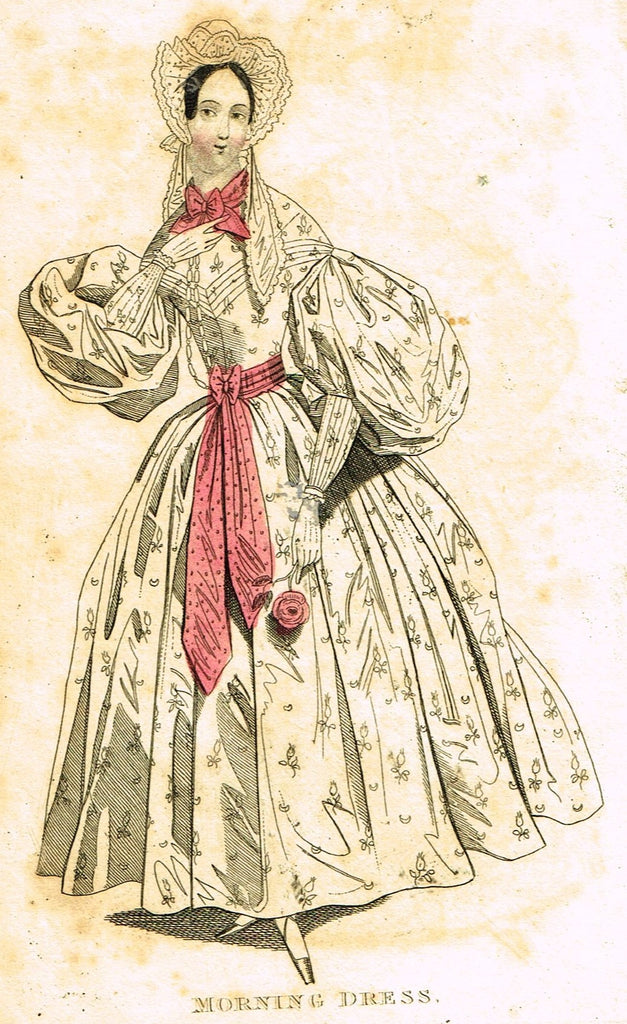 "Lady's Cabinet Fashion Plate - ""MORNING DRESS (Pink)"" - Hand-Colored Engraving - 1840"