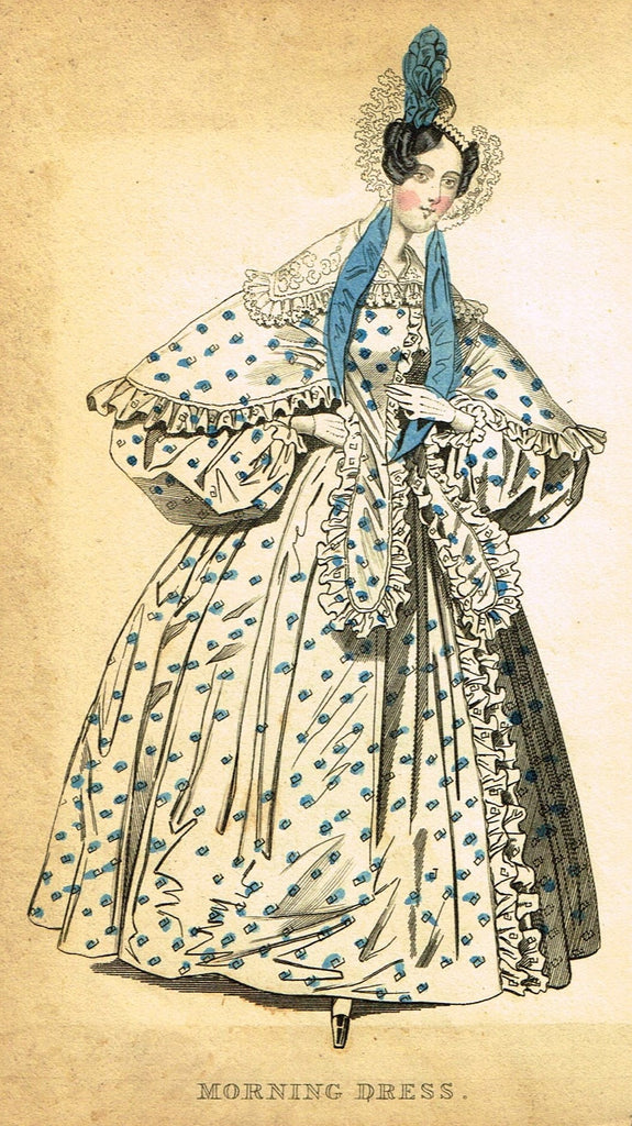 "Lady's Cabinet Fashion Plate - ""MORNING DRESS (Blue)"" - Hand-Colored Engraving - 1840"