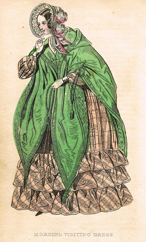 "Lady's Cabinet Fashion Plate - ""MORNING VISITING DRESS (PINK)"" - Hand-Colored Engraving - 1840"