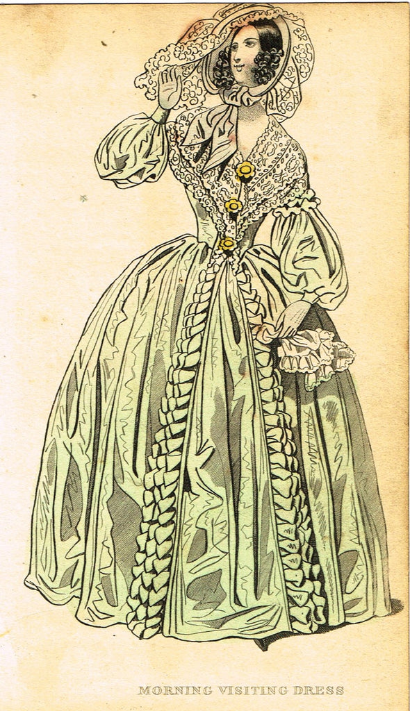"Lady's Cabinet Fashion Plate - ""MORNING VISITING DRESS (WHITE)"" - Hand-Colored Engraving - 1840"