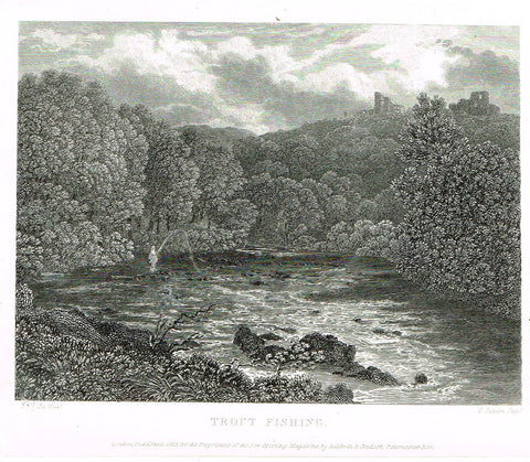 "Ackermann's Sporting Magazine - FISH & FISHING - ""TROUTFISHING"" - Steel Engraving - c1838 - Sandtique-Rare-Prints and Maps"