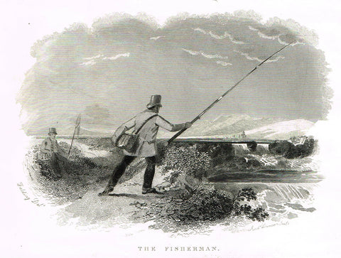 "Ackermann's Sporting Magazine - FISH & FISHING - ""THE FISHERMAN"" - Steel Engraving - c1838 - Sandtique-Rare-Prints and Maps"
