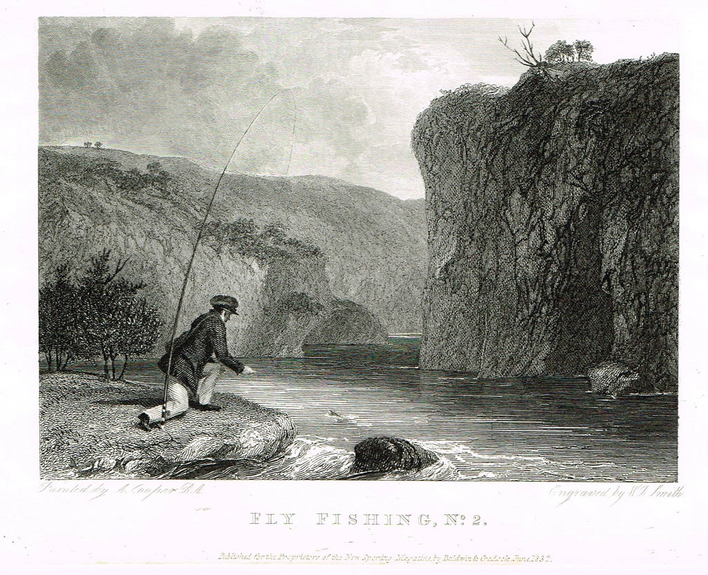 "Ackermann's Sporting Magazine - FISH & FISHING - ""FLY FISHING"" - Steel Engraving - c1838 - Sandtique-Rare-Prints and Maps"