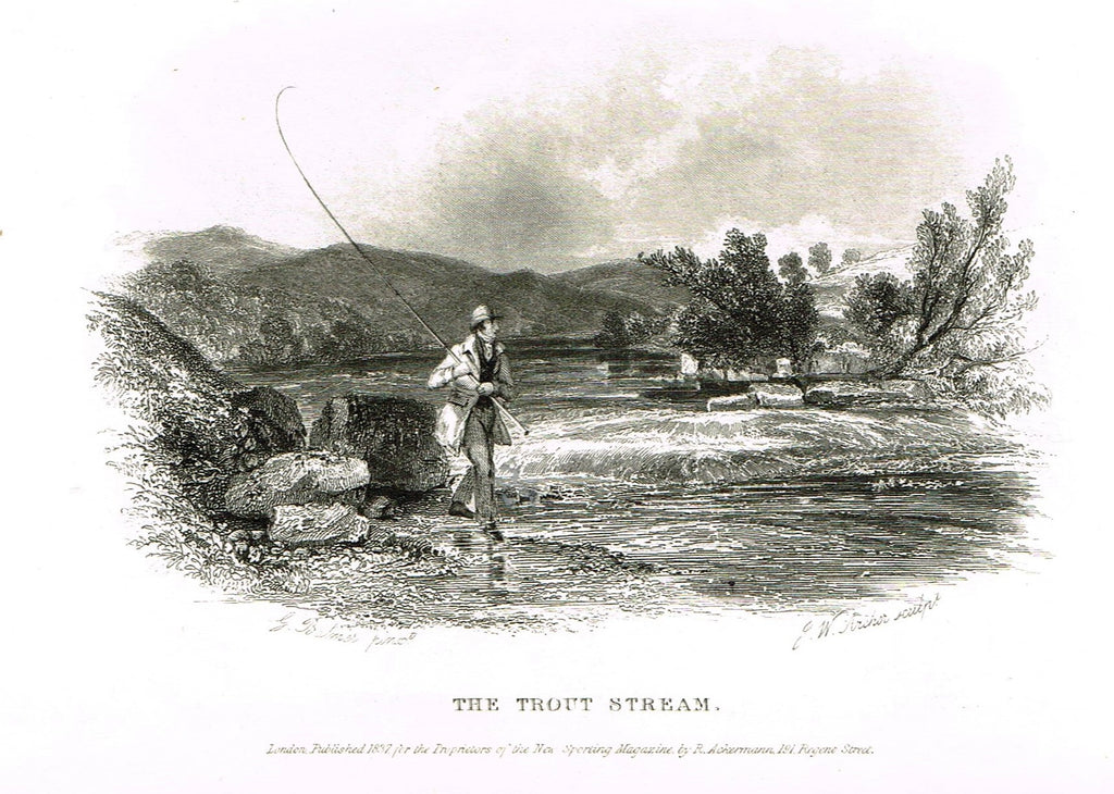"Ackermann's Sporting Magazine - FISH & FISHING - ""THE TROUT STREAM"" - Steel Engraving - c1838 - Sandtique-Rare-Prints and Maps"